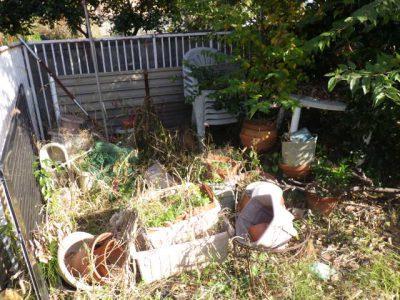 お庭のかたづけ